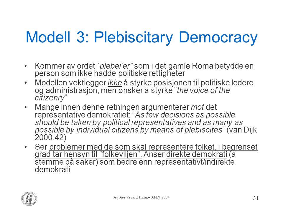 """Av Are Vegard Haug – AFIN 2004 31 Modell 3: Plebiscitary Democracy Kommer av ordet """"plebei'er"""" som i det gamle Roma betydde en person som ikke hadde p"""