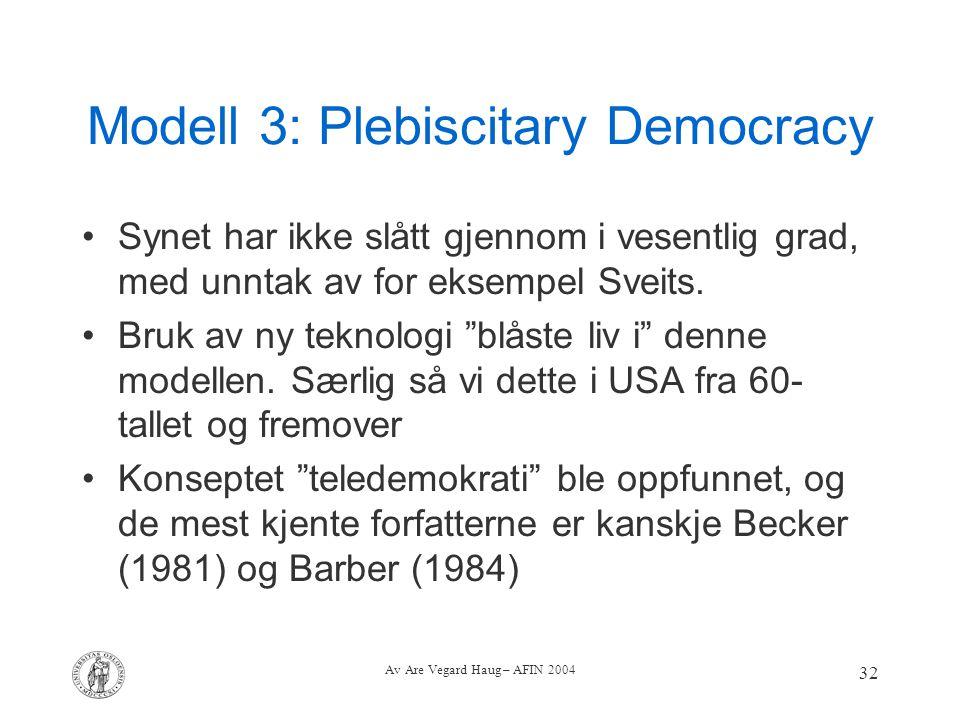 Av Are Vegard Haug – AFIN 2004 32 Modell 3: Plebiscitary Democracy Synet har ikke slått gjennom i vesentlig grad, med unntak av for eksempel Sveits. B