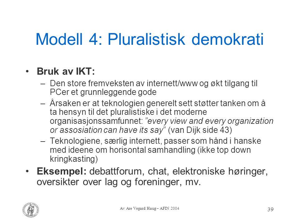 Av Are Vegard Haug – AFIN 2004 39 Modell 4: Pluralistisk demokrati Bruk av IKT: –Den store fremveksten av internett/www og økt tilgang til PCer et gru