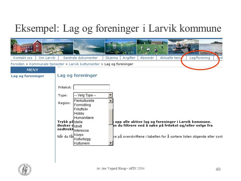 Av Are Vegard Haug – AFIN 2004 40 Eksempel: Lag og foreninger i Larvik kommune