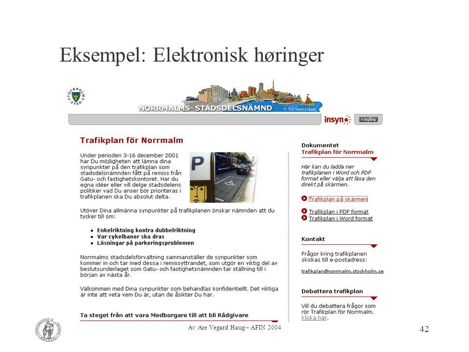 Av Are Vegard Haug – AFIN 2004 42 Eksempel: Elektronisk høringer