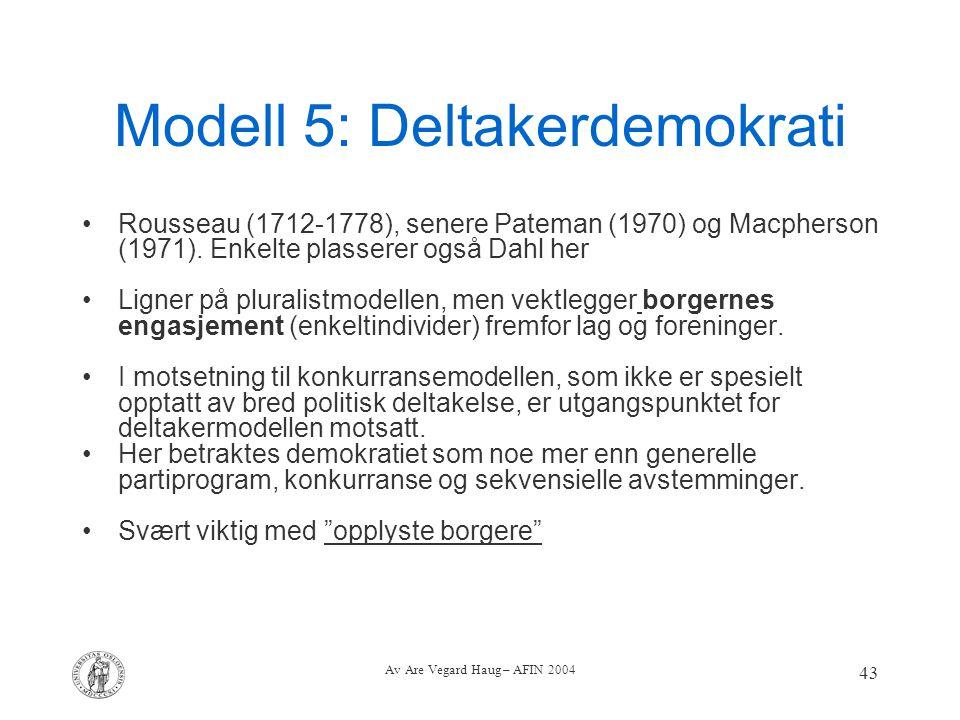Av Are Vegard Haug – AFIN 2004 43 Modell 5: Deltakerdemokrati Rousseau (1712-1778), senere Pateman (1970) og Macpherson (1971). Enkelte plasserer også