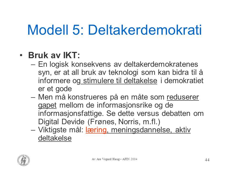 Av Are Vegard Haug – AFIN 2004 44 Modell 5: Deltakerdemokrati Bruk av IKT: –En logisk konsekvens av deltakerdemokratenes syn, er at all bruk av teknol