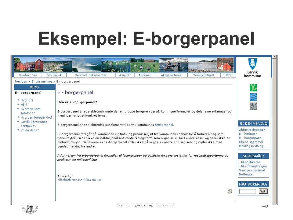Av Are Vegard Haug – AFIN 2004 46 Eksempel: E-borgerpanel