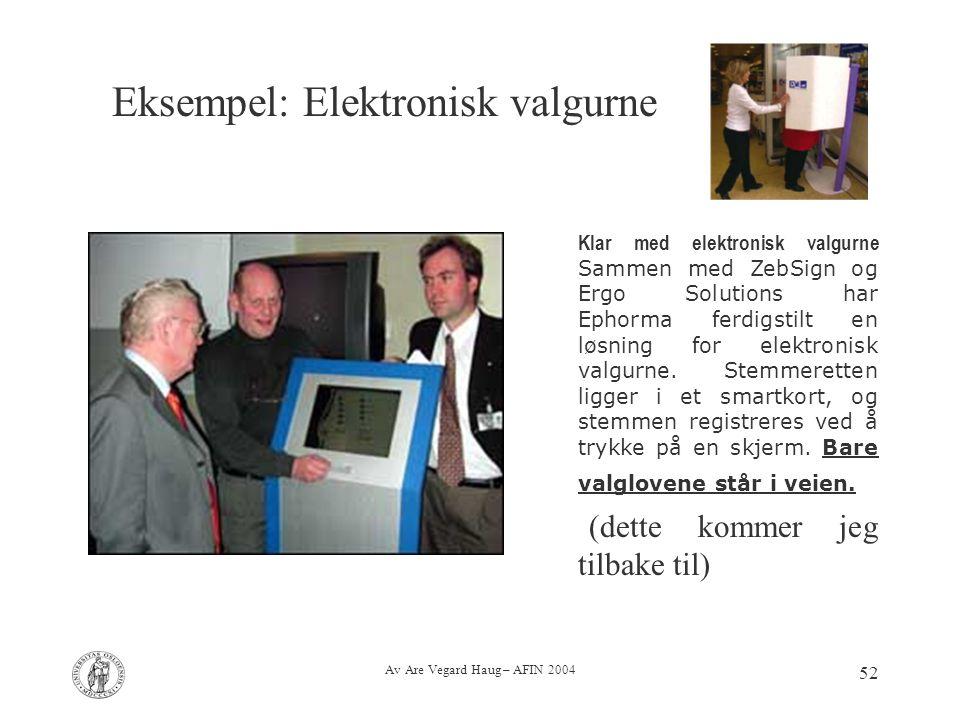 Av Are Vegard Haug – AFIN 2004 52 Klar med elektronisk valgurne Sammen med ZebSign og Ergo Solutions har Ephorma ferdigstilt en løsning for elektronis