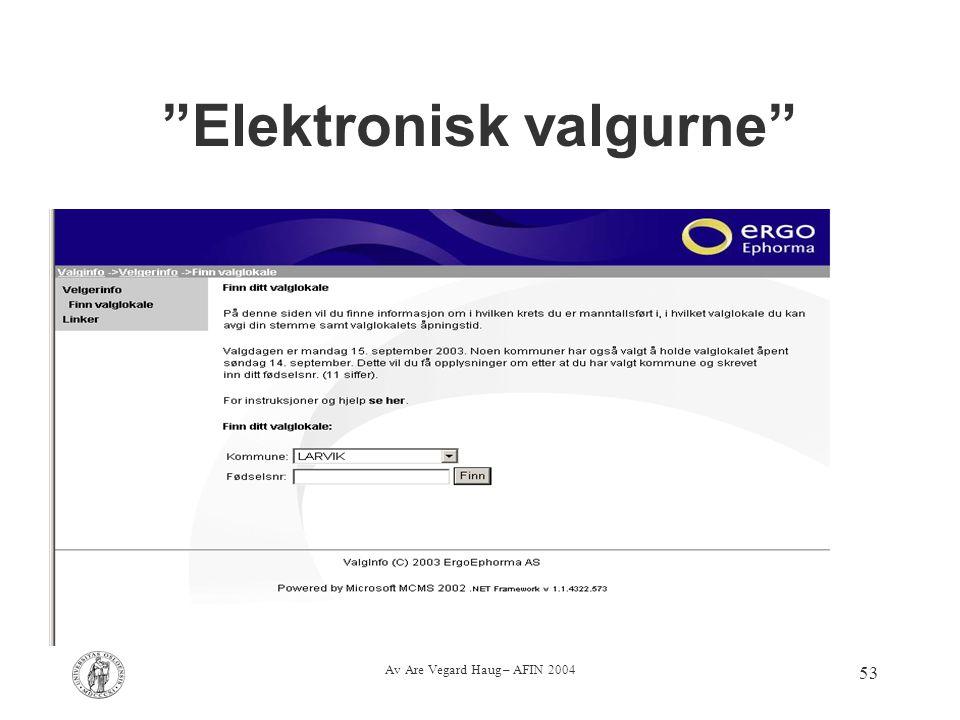 """Av Are Vegard Haug – AFIN 2004 53 """"Elektronisk valgurne"""""""