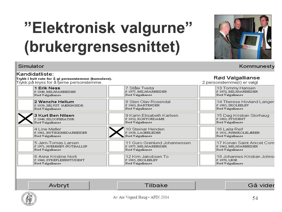 """Av Are Vegard Haug – AFIN 2004 54 """"Elektronisk valgurne"""" (brukergrensesnittet)"""
