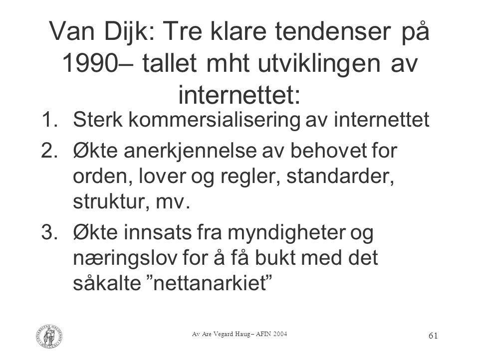 Av Are Vegard Haug – AFIN 2004 61 Van Dijk: Tre klare tendenser på 1990– tallet mht utviklingen av internettet: 1.Sterk kommersialisering av internett