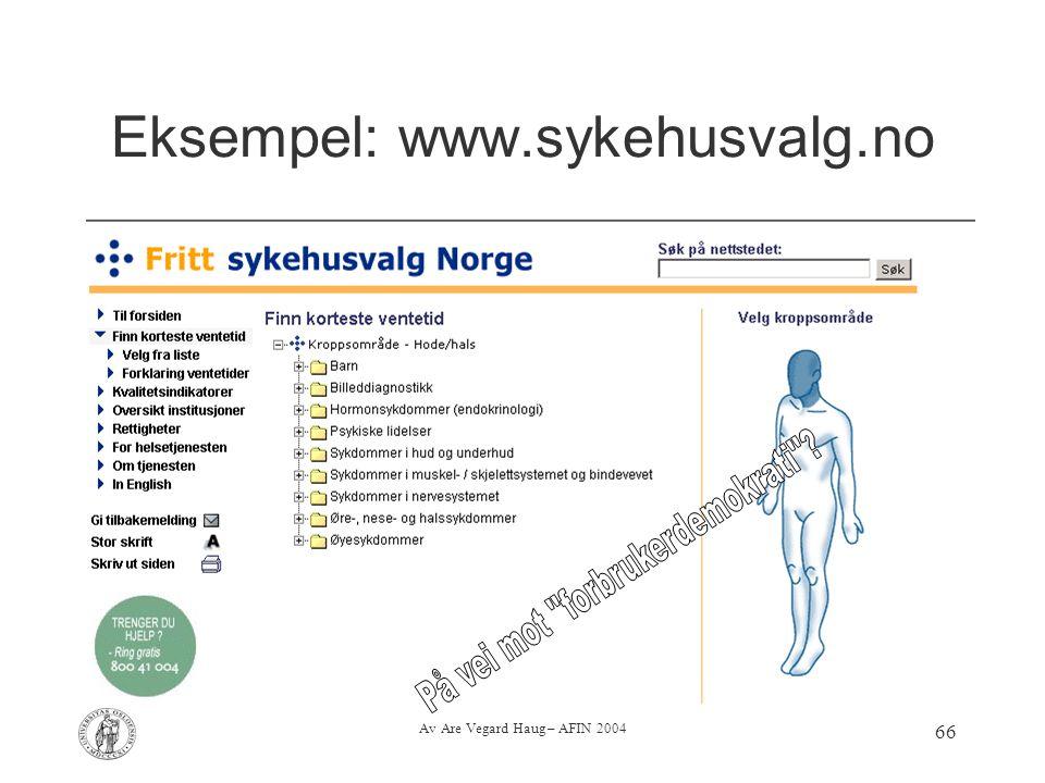 Av Are Vegard Haug – AFIN 2004 66 Eksempel: www.sykehusvalg.no
