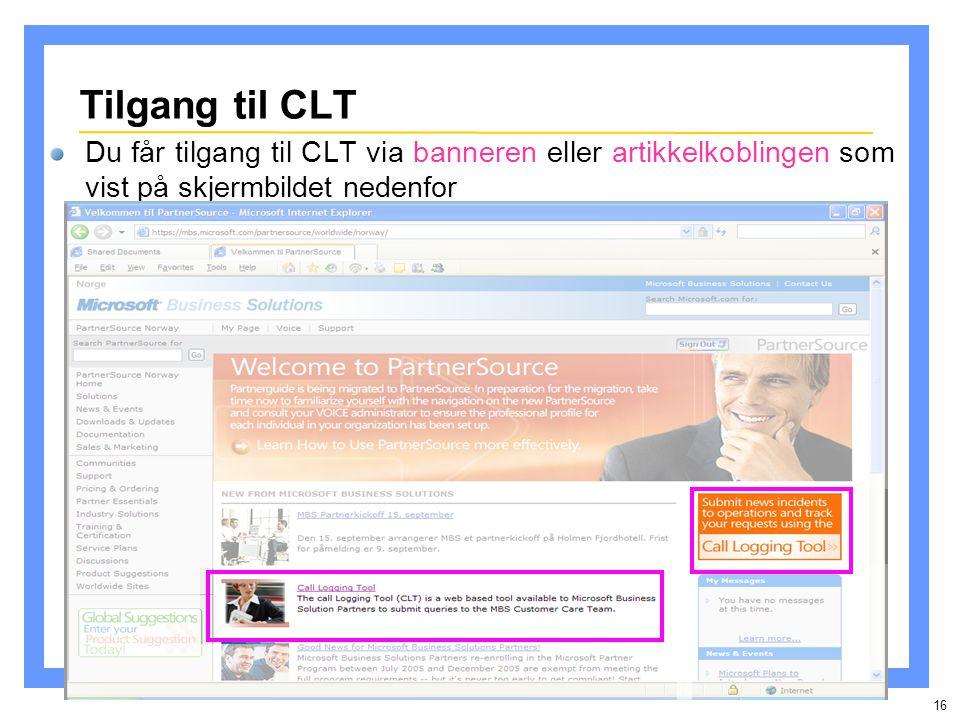 16 Tilgang til CLT Du får tilgang til CLT via banneren eller artikkelkoblingen som vist på skjermbildet nedenfor
