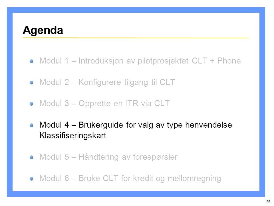 25 Agenda Modul 1 – Introduksjon av pilotprosjektet CLT + Phone Modul 2 – Konfigurere tilgang til CLT Modul 3 – Opprette en ITR via CLT Modul 4 – Brukerguide for valg av type henvendelse Klassifiseringskart Modul 5 – Håndtering av forespørsler Modul 6 – Bruke CLT for kredit og mellomregning