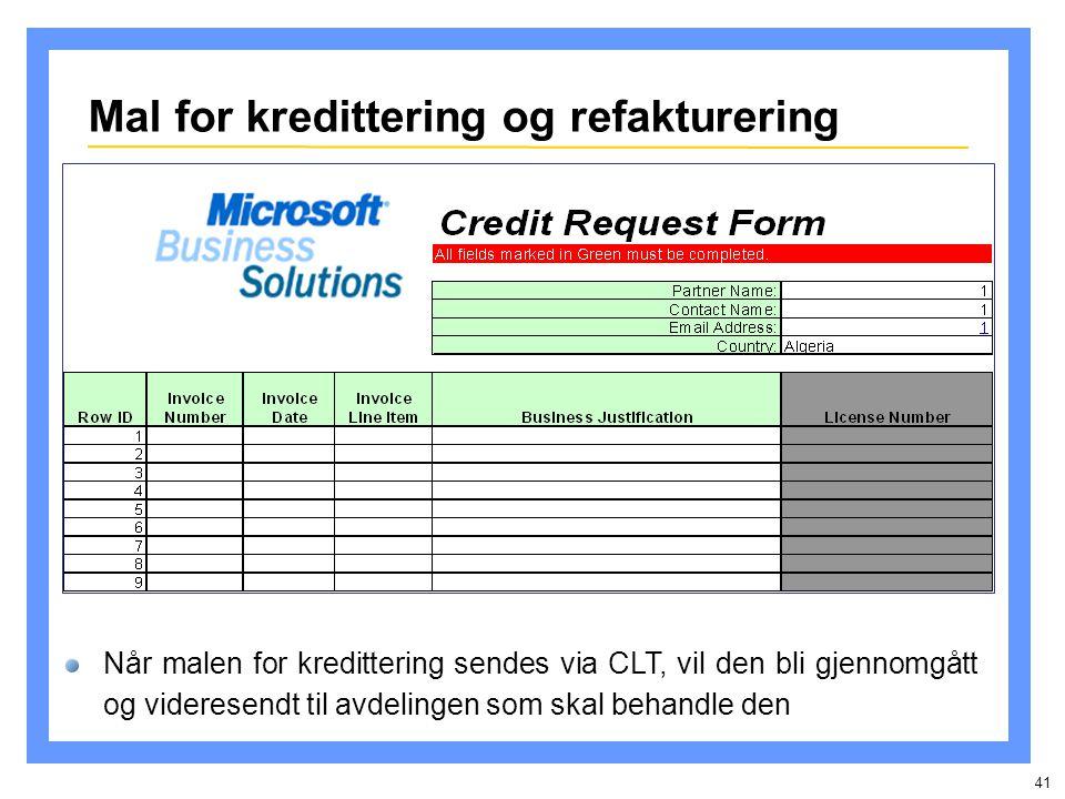 41 Mal for kredittering og refakturering Når malen for kredittering sendes via CLT, vil den bli gjennomgått og videresendt til avdelingen som skal behandle den