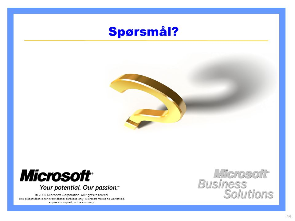 44 Spørsmål. © 2005 Microsoft Corporation. All rights reserved.