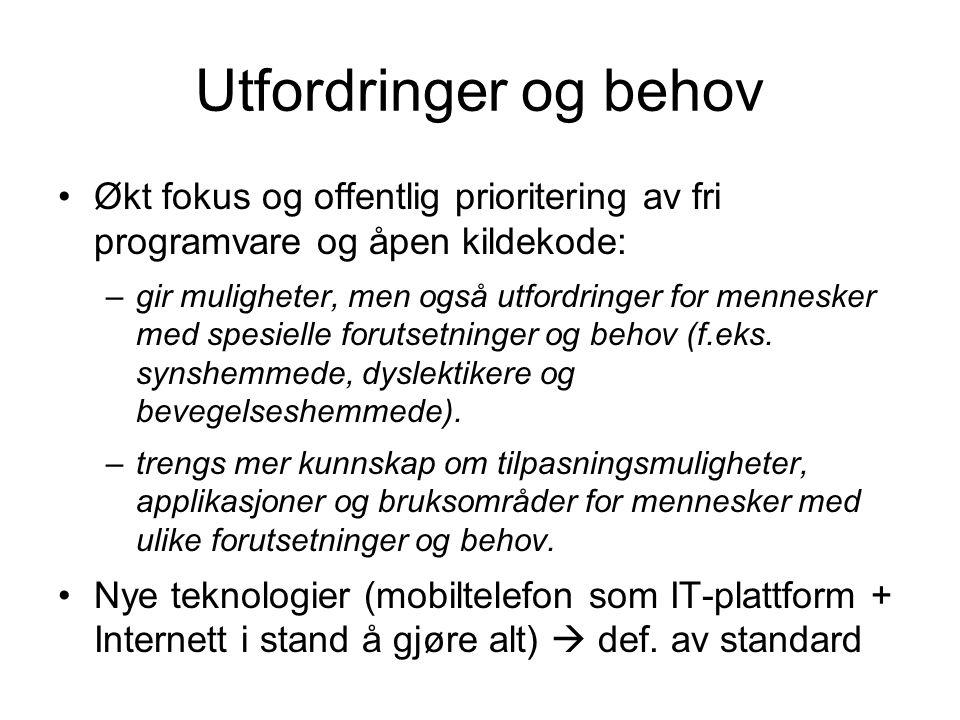 Hovedinnhold (1) 1.Universell utforming av IKT sett fra offentlige etater: –Kriterier, krav for produkter og tjenester –Bygger kompetanse mellom leverandører og anskaffelser via kontrakt, juriske lov, tilsyn (informasjonsarbeid) –Mange gråsoner (avgrensning, manglede forskrifter og regler) må jobbes mer –Norske standarder   internasjonale standarder (W3C osv…)
