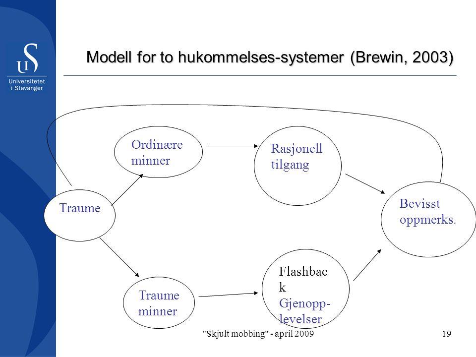 Skjult mobbing - april 200919 Modell for to hukommelses-systemer (Brewin, 2003) Traume Ordinære minner Rasjonell tilgang Traume minner Bevisst oppmerks.