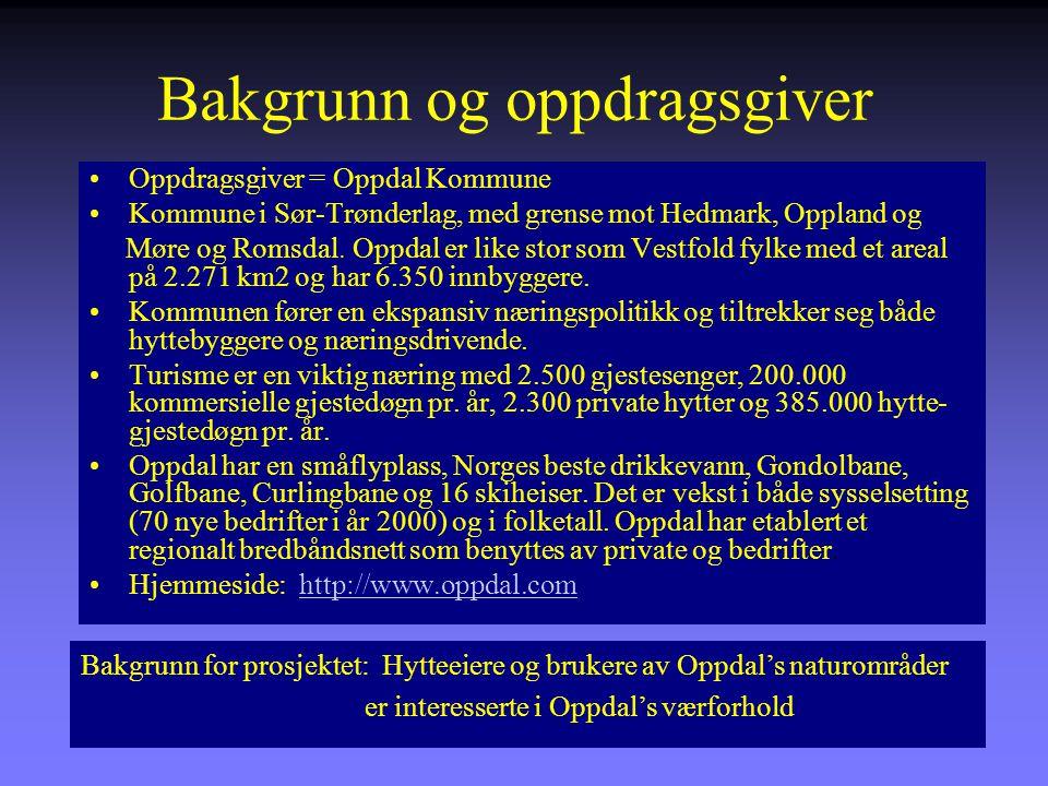 Bakgrunn og oppdragsgiver Oppdragsgiver = Oppdal Kommune Kommune i Sør-Trønderlag, med grense mot Hedmark, Oppland og Møre og Romsdal.