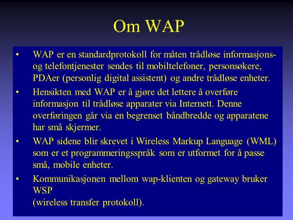 Om WAP WAP er en standardprotokoll for måten trådløse informasjons- og telefontjenester sendes til mobiltelefoner, personsøkere, PDAer (personlig digital assistent) og andre trådløse enheter.