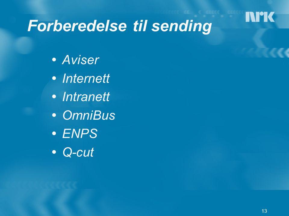 13 Forberedelse til sending  Aviser  Internett  Intranett  OmniBus  ENPS  Q-cut
