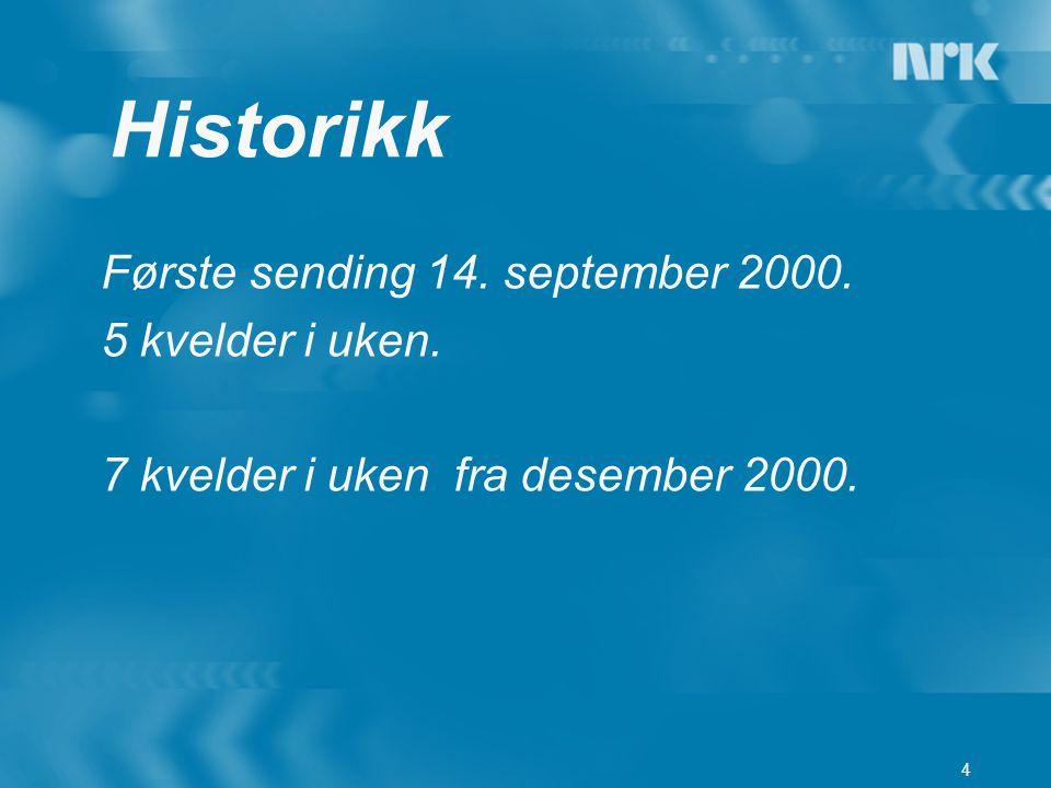 4 Første sending 14. september 2000. 5 kvelder i uken. 7 kvelder i uken fra desember 2000. Historikk