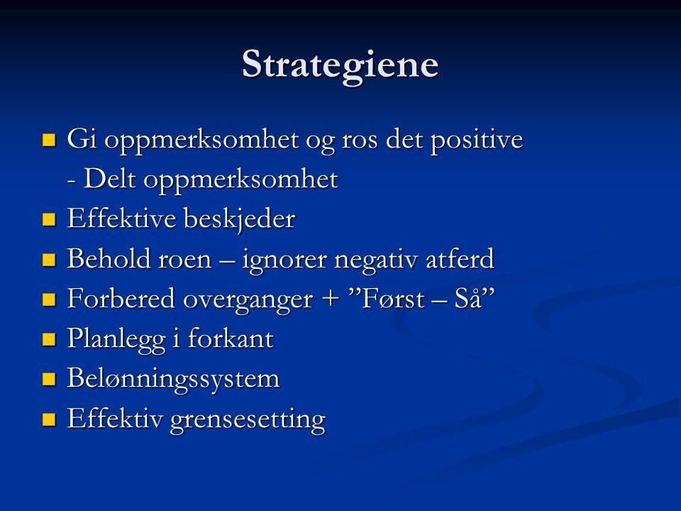 Strategiene Gi oppmerksomhet og ros det positive Gi oppmerksomhet og ros det positive - Delt oppmerksomhet Effektive beskjeder Effektive beskjeder Beh