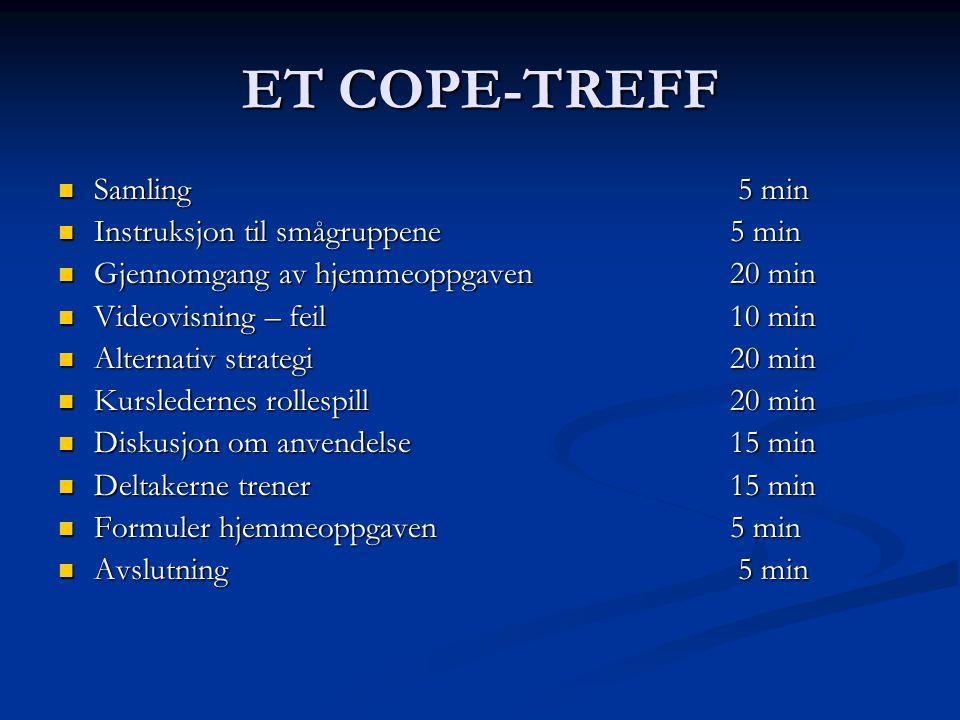 ET COPE-TREFF Samling 5 min Samling 5 min Instruksjon til smågruppene 5 min Instruksjon til smågruppene 5 min Gjennomgang av hjemmeoppgaven20 min Gjen