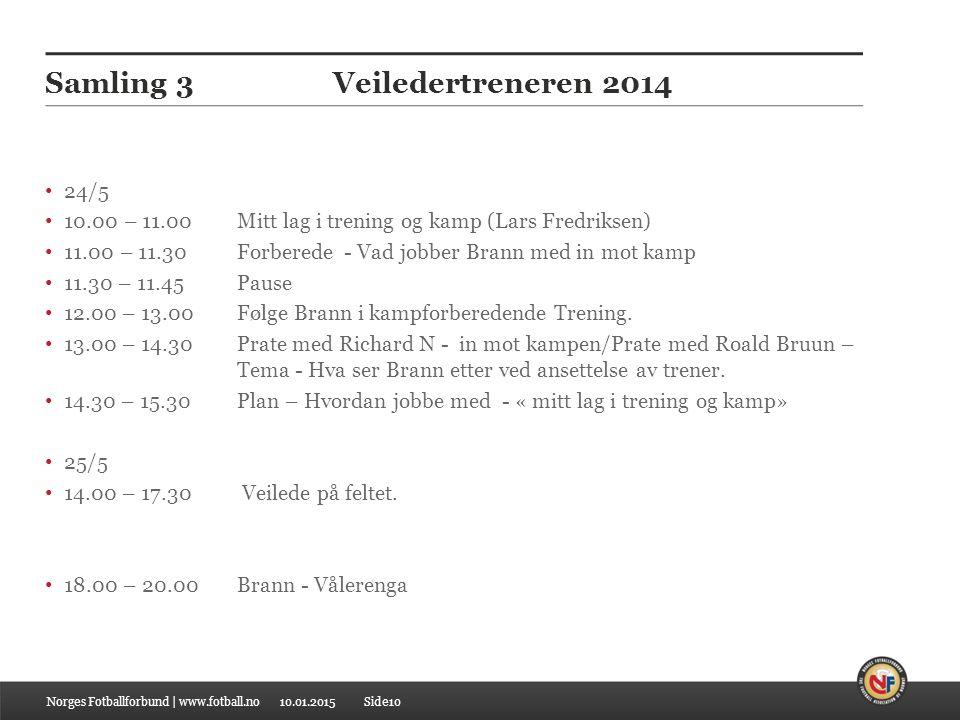 10.01.2015 Samling 3Veiledertreneren 2014 24/5 10.00 – 11.00 Mitt lag i trening og kamp (Lars Fredriksen) 11.00 – 11.30 Forberede - Vad jobber Brann med in mot kamp 11.30 – 11.45Pause 12.00 – 13.00 Følge Brann i kampforberedende Trening.