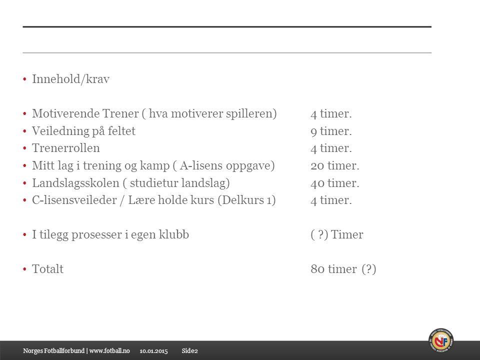 10.01.2015 Innehold/krav Motiverende Trener ( hva motiverer spilleren) 4 timer. Veiledning på feltet9 timer. Trenerrollen4 timer. Mitt lag i trening o