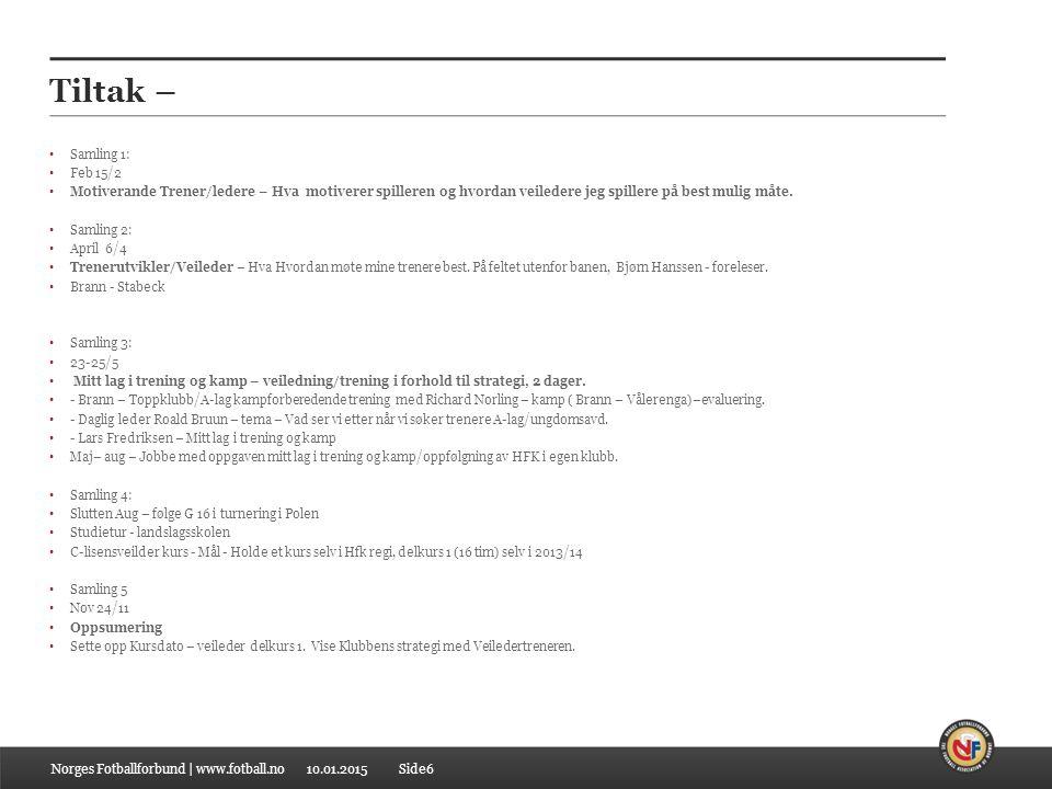 10.01.2015 Samling 1 Program 15/2 Veiledertreneren 2014 10.00 – 10.50 Min Rolle i Klubb ( 5 Min / deltaker) 11.00 – 11.30 Fremdrift/Hensikt/mål med Kurset.