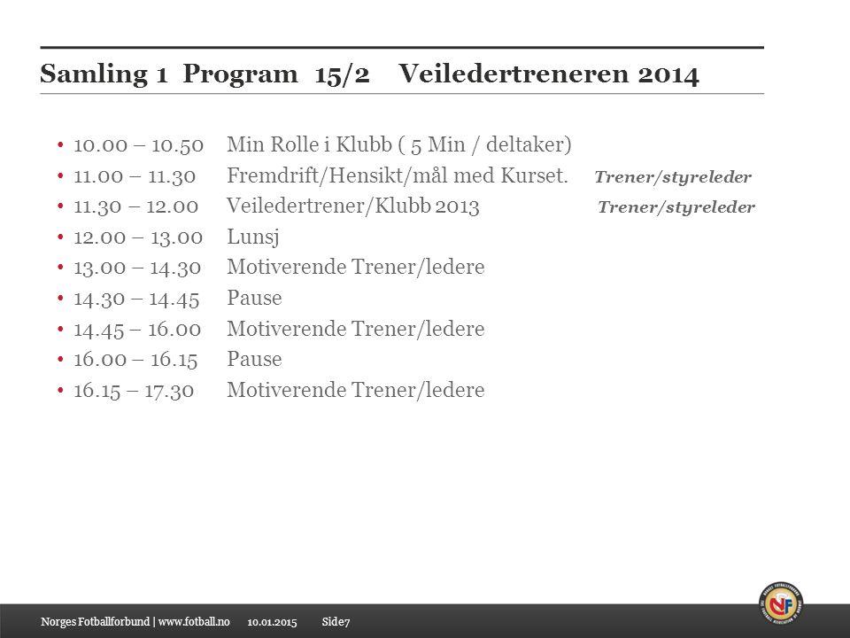 10.01.2015 Samling 1 Program 15/2 Veiledertreneren 2014 10.00 – 10.50 Min Rolle i Klubb ( 5 Min / deltaker) 11.00 – 11.30 Fremdrift/Hensikt/mål med Ku