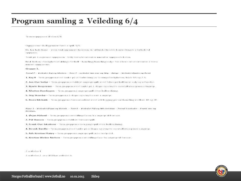 10.01.2015 Program samling 2 Veileding 6/4 Norges Fotballforbund | www.fotball.noSide9