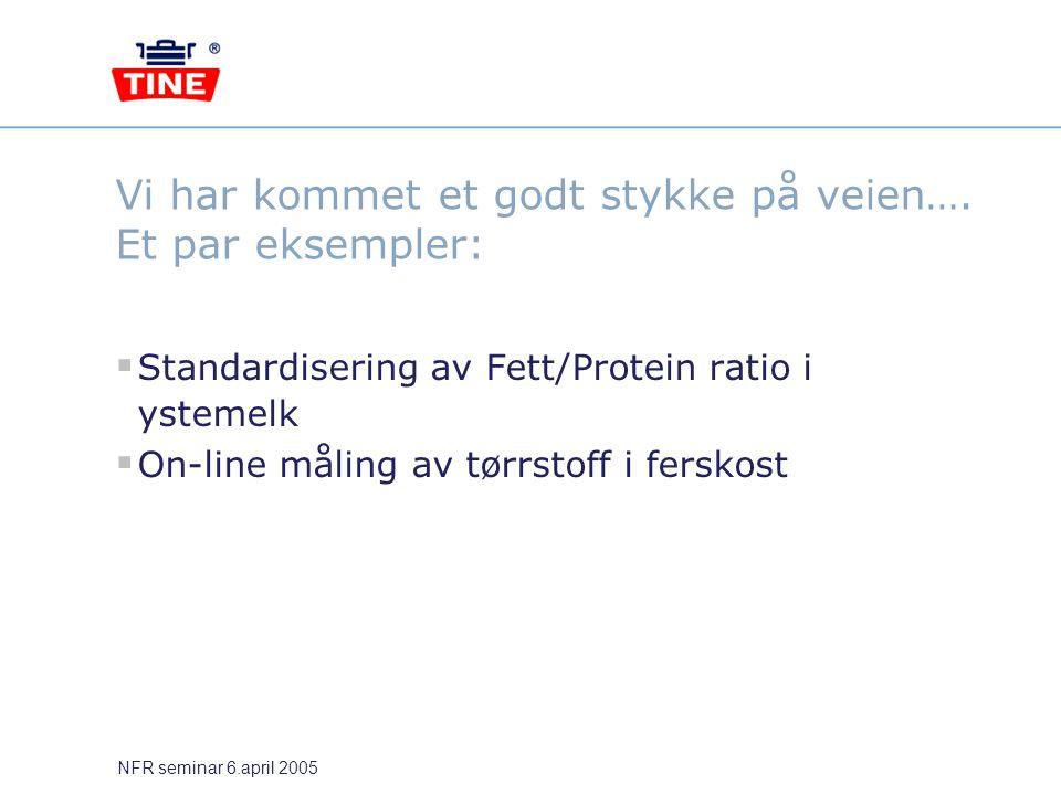 NFR seminar 6.april 2005 Vi har kommet et godt stykke på veien…. Et par eksempler:  Standardisering av Fett/Protein ratio i ystemelk  On-line måling