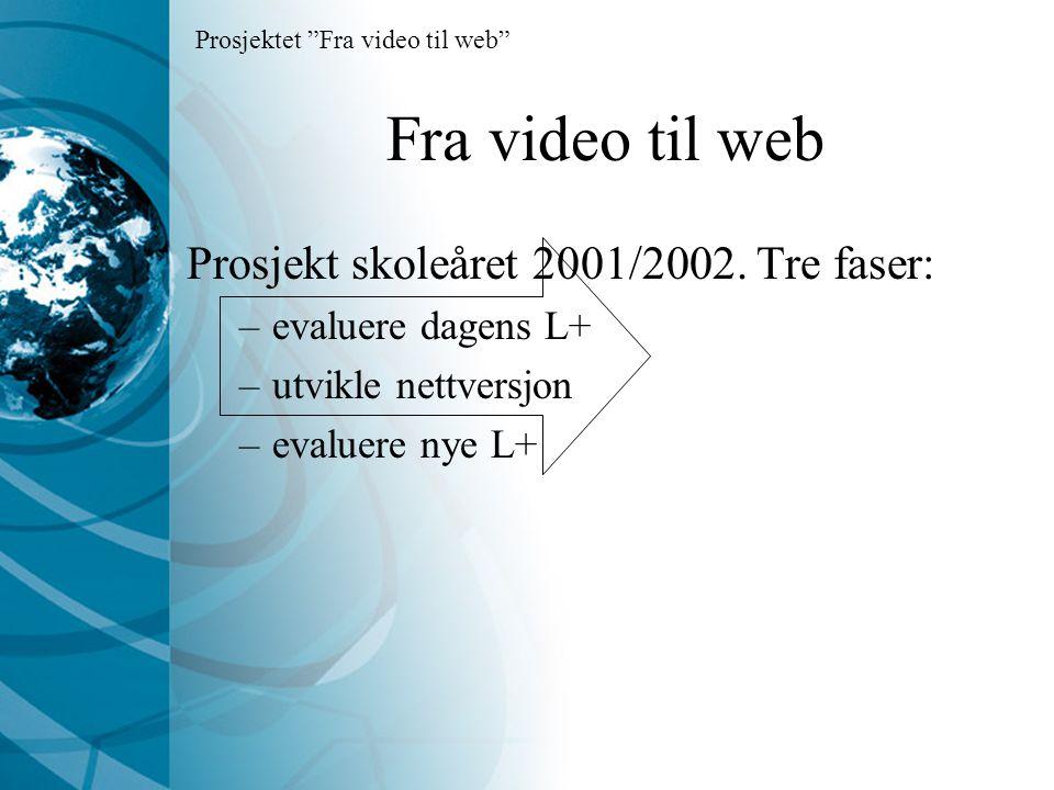 Fra video til web Prosjekt skoleåret 2001/2002.