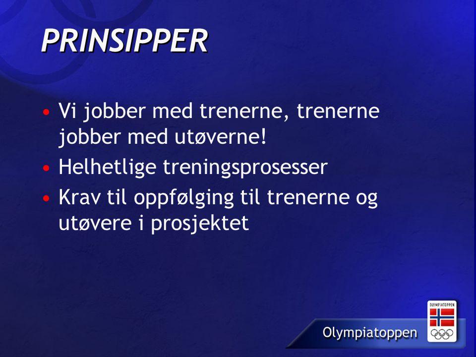 PRINSIPPER Vi jobber med trenerne, trenerne jobber med utøverne! Helhetlige treningsprosesser Krav til oppfølging til trenerne og utøvere i prosjektet