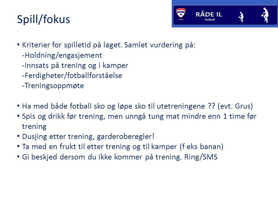 Spill/fokus Kriterier for spilletid på laget. Samlet vurdering på: -Holdning/engasjement -Innsats på trening og i kamper -Ferdigheter/fotballforståels