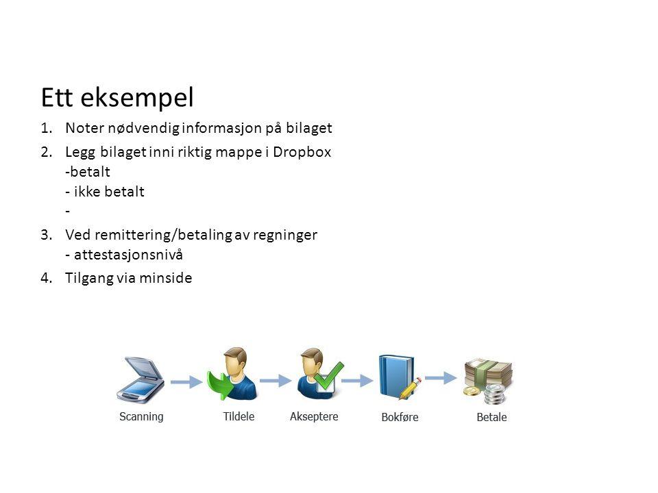 Ett eksempel 1.Noter nødvendig informasjon på bilaget 2.Legg bilaget inni riktig mappe i Dropbox -betalt - ikke betalt - 3.Ved remittering/betaling av