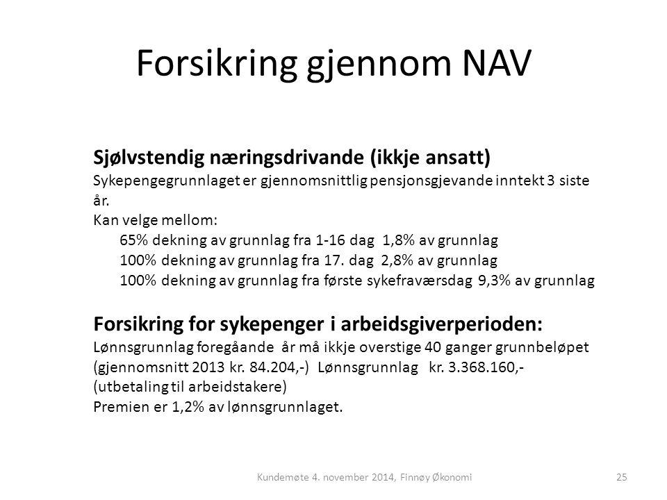 Forsikring gjennom NAV Kundemøte 4. november 2014, Finnøy Økonomi25 Sjølvstendig næringsdrivande (ikkje ansatt) Sykepengegrunnlaget er gjennomsnittlig