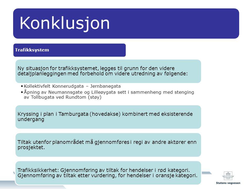 Konklusjon Trafikksystem Ny situasjon for trafikksystemet, legges til grunn for den videre detaljplanleggingen med forbehold om videre utredning av fø