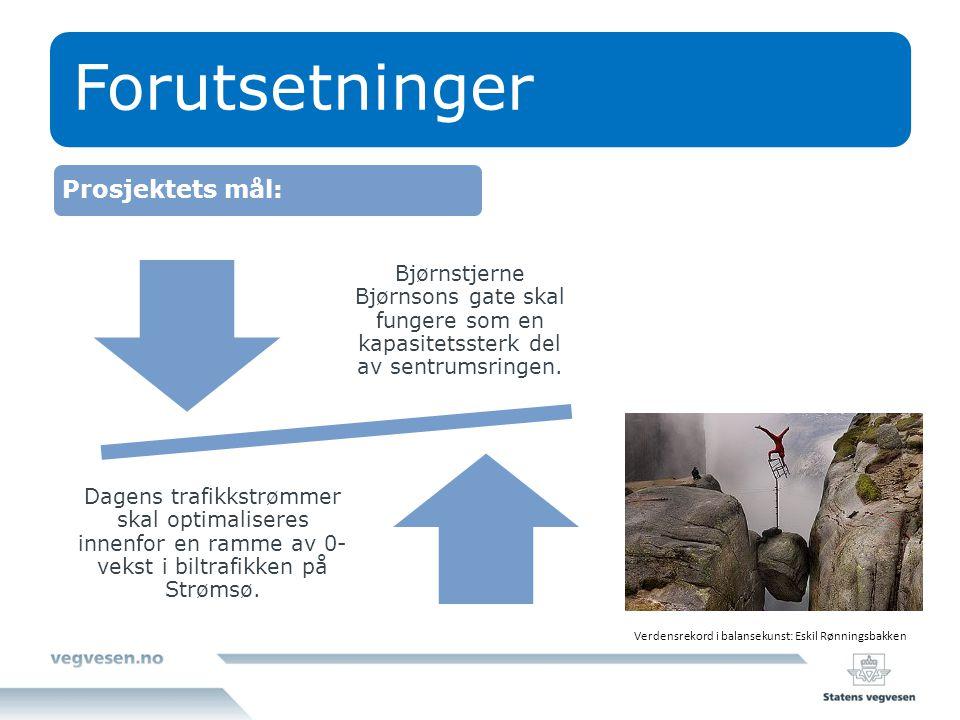 Forutsetninger Bjørnstjerne Bjørnsons gate skal fungere som en kapasitetssterk del av sentrumsringen. Dagens trafikkstrømmer skal optimaliseres innenf