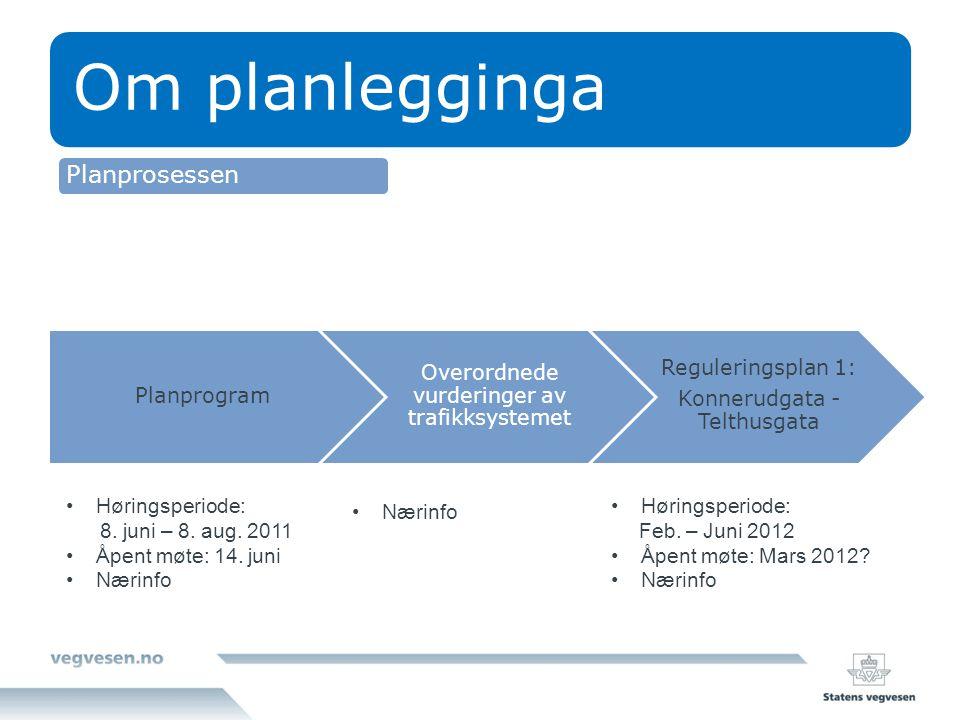 Om planlegginga Planprogram Overordnede vurderinger av trafikksystemet Reguleringsplan 1: Konnerudgata - Telthusgata Høringsperiode: 8. juni – 8. aug.