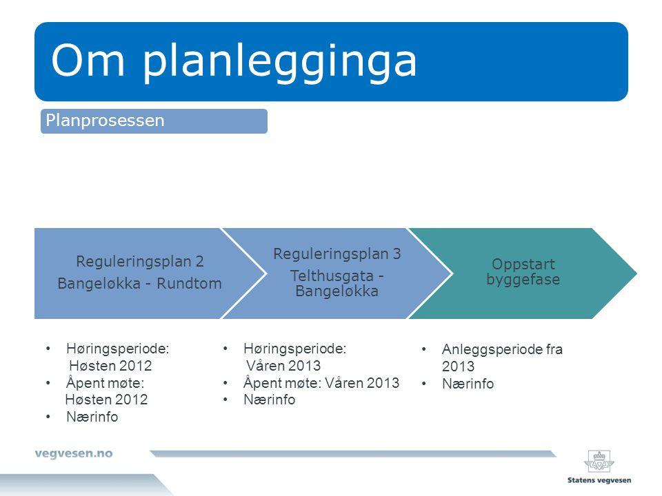 Om planlegginga Reguleringsplan 2 Bangeløkka - Rundtom Reguleringsplan 3 Telthusgata - Bangeløkka Oppstart byggefase Høringsperiode: Høsten 2012 Åpent