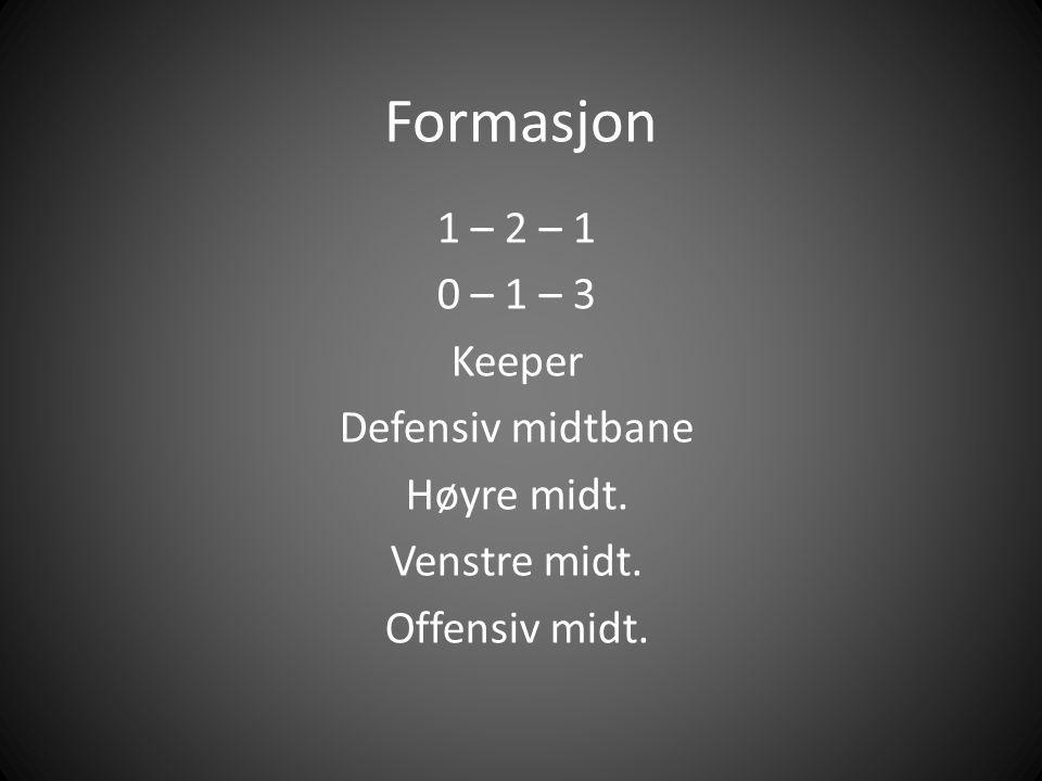Formasjon 1 – 2 – 1 0 – 1 – 3 Keeper Defensiv midtbane Høyre midt. Venstre midt. Offensiv midt.