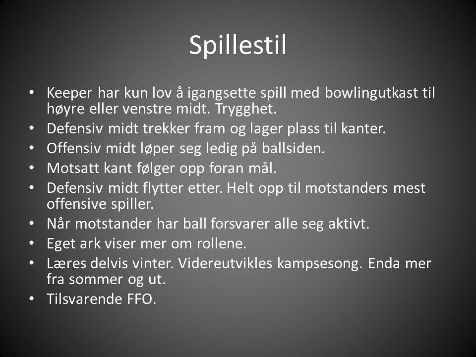 Spillestil Keeper har kun lov å igangsette spill med bowlingutkast til høyre eller venstre midt. Trygghet. Defensiv midt trekker fram og lager plass t