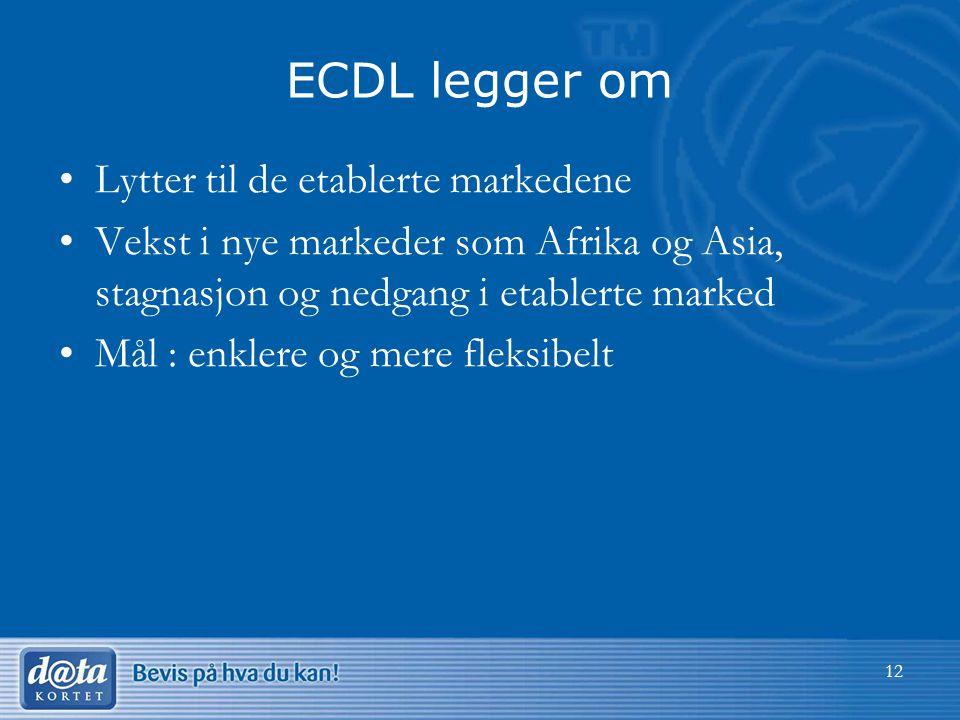 12 ECDL legger om Lytter til de etablerte markedene Vekst i nye markeder som Afrika og Asia, stagnasjon og nedgang i etablerte marked Mål : enklere og