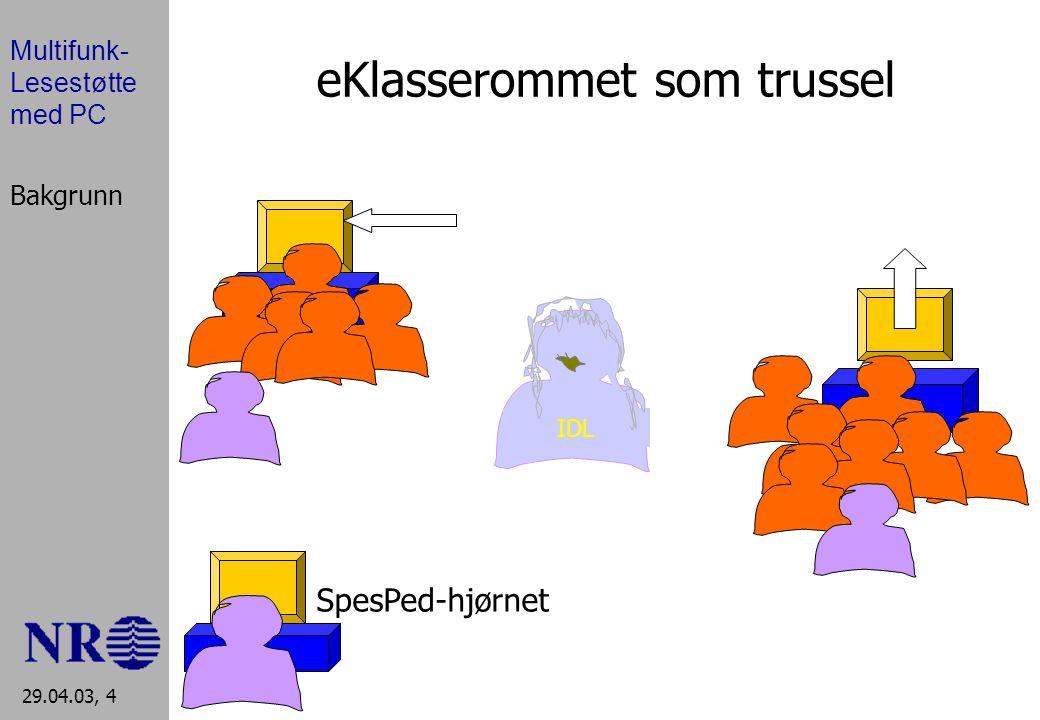 Multifunk- Lesestøtte med PC 29.04.03, 4 eKlasserommet som trussel IDL SpesPed-hjørnet Bakgrunn