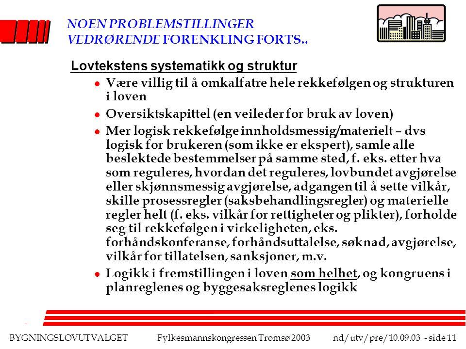 BYGNINGSLOVUTVALGETFylkesmannskongressen Tromsø 2003nd/utv/pre/10.09.03 - side 11 NOEN PROBLEMSTILLINGER VEDRØRENDE FORENKLING FORTS..
