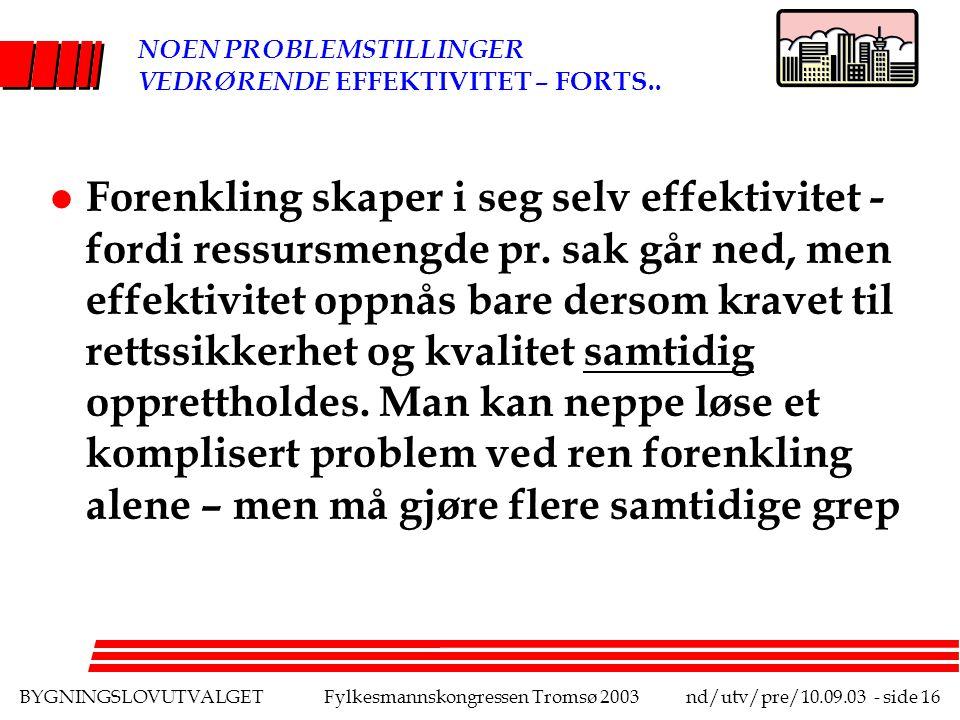 BYGNINGSLOVUTVALGETFylkesmannskongressen Tromsø 2003nd/utv/pre/10.09.03 - side 16 NOEN PROBLEMSTILLINGER VEDRØRENDE EFFEKTIVITET – FORTS..