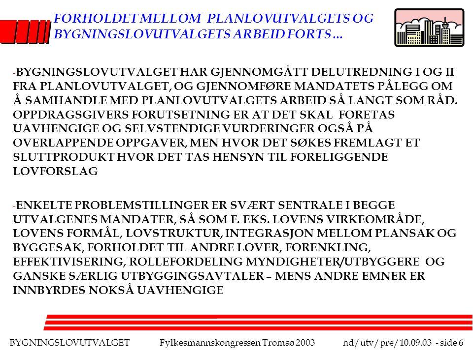 BYGNINGSLOVUTVALGETFylkesmannskongressen Tromsø 2003nd/utv/pre/10.09.03 - side 7 FORHOLDET MELLOM BYGNINGSLOV- UTVALGETS DELUTREDNING I OG II: - OVERSIKT OVER PROBLEMSTILLINGER/MANGLER VED DAGENS SYSTEM(I) - ANALYSER AV FAKTUM, RETTSLIGE OG ANDRE FAGBASERTE PROBLEMSTILLINGER, LEGISLATIVE HENSYN OG LØSNINGSALTERNATIVER (I) - PRINSIPPER/VEIVALG PÅ SENTRALE OMRÅDER (I) - SKILLET MELLOM DELUTREDNING I OG II GÅR PÅ TO PLAN: DYBDE/DETALJERING OG ETTER TEMASKILLER - OVERSIKT OG OVERORDNEDE PRINSIPPER (I) OG DETALJER (II)/OVERSIKT(I) OG DYBDE (II) - TEMATISKE SKILLER, NOEN PROBLEMSTILLINER UTSTÅR NÆRMEST HELT TIL DEL II, F.