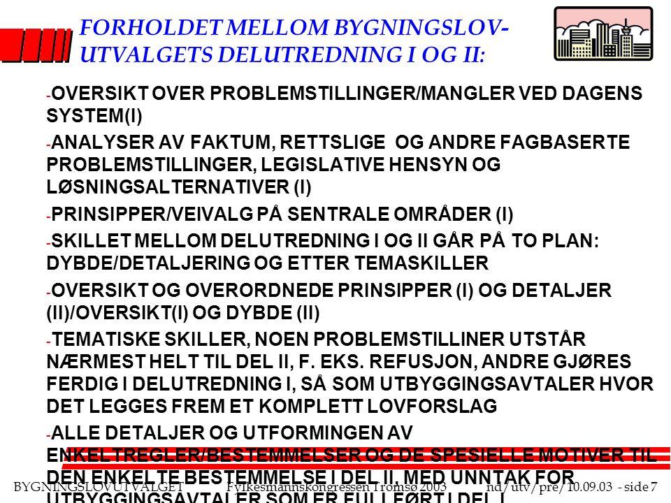 BYGNINGSLOVUTVALGETFylkesmannskongressen Tromsø 2003nd/utv/pre/10.09.03 - side 8 LITT OM UTVALGETS ARBEIDSMÅTE - MØTER HVER 14.
