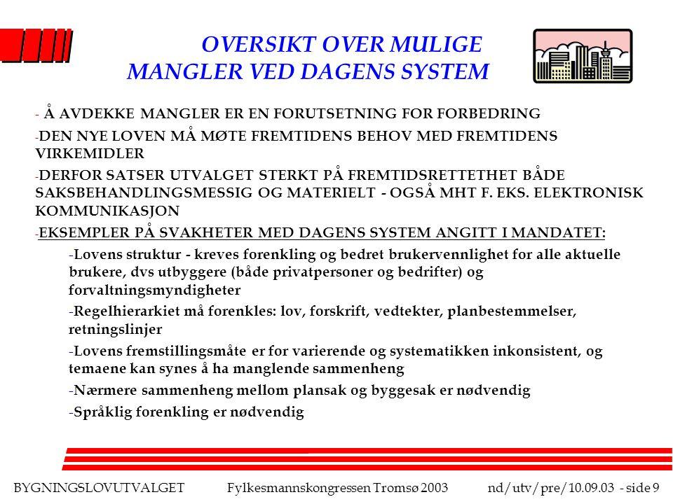 BYGNINGSLOVUTVALGETFylkesmannskongressen Tromsø 2003nd/utv/pre/10.09.03 - side 9 OVERSIKT OVER MULIGE MANGLER VED DAGENS SYSTEM - Å AVDEKKE MANGLER ER EN FORUTSETNING FOR FORBEDRING - DEN NYE LOVEN MÅ MØTE FREMTIDENS BEHOV MED FREMTIDENS VIRKEMIDLER - DERFOR SATSER UTVALGET STERKT PÅ FREMTIDSRETTETHET BÅDE SAKSBEHANDLINGSMESSIG OG MATERIELT - OGSÅ MHT F.