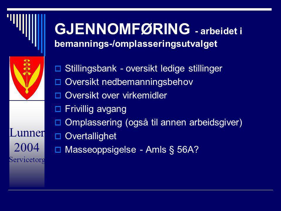 Lunner 2004 Servicetorg GJENNOMFØRING - arbeidet i bemannings-/omplasseringsutvalget  Stillingsbank - oversikt ledige stillinger  Oversikt nedbemann